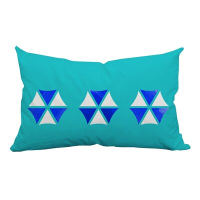 Umbrella Trio Graphic Indoor/Outdoor Lumbar Pillow Color: Blue