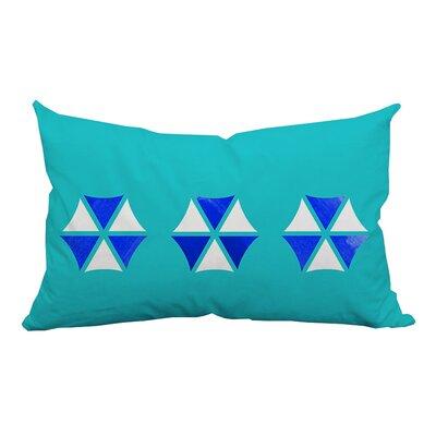 Umbrella Trio Graphic Indoor/Outdoor Lumbar Pillow Color: Blue
