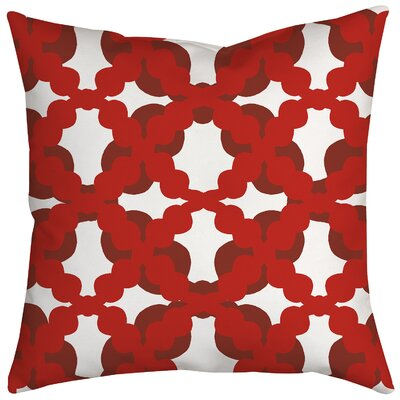 Lattice Fence Geometric Throw Pillow Size: 18 H x 18 W x 2 D, Color: Red