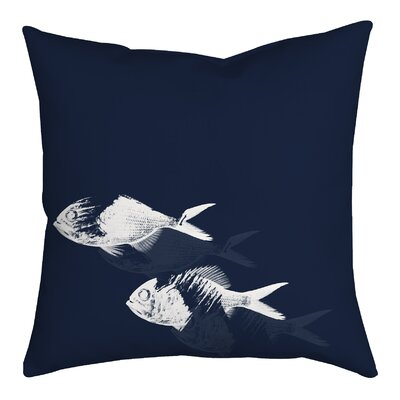 Fish Watercolor Graphic Throw Pillow Size: 18