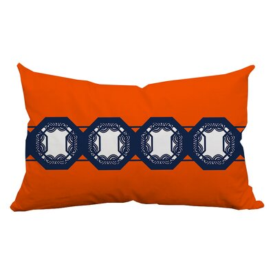 Geometrically Pleasing Lumbar Pillow Color: Orange/Navy