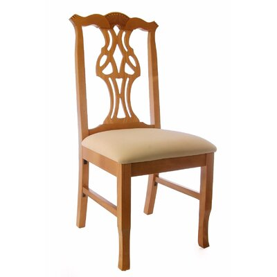 Chippendale Side Chair in Cream Microfiber Color: Honey Oak