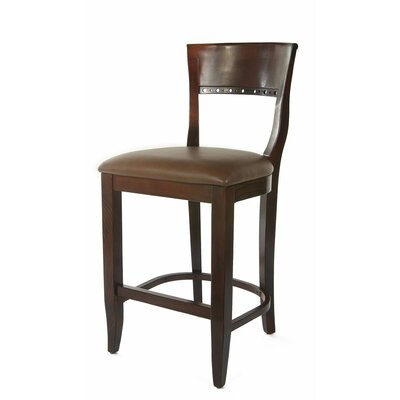Tymon 24 Bar Stool Finish: Medium Oak, Upholstery: Brown Faux Leather