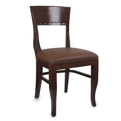 Biedermier Side Chair (Set of 2) Finish: Medium Oak, Upholstery: Brown Faux Leather