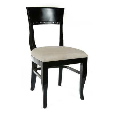 Tymon Genuine Leather Upholstered Dining Chair in Flax Linen Color: Black
