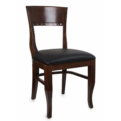 Tymon Genuine Leather Upholstered Dining Chair in Black Faux Leather (Set of 2) Color: Dark Mahogany