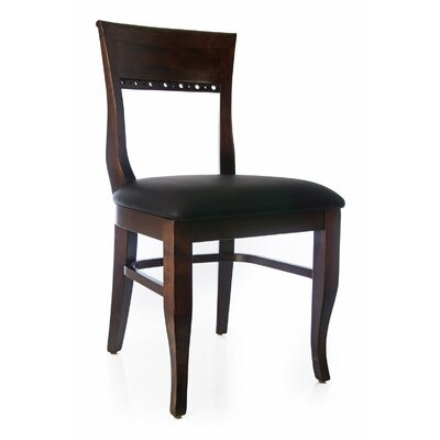 Tymon Genuine Leather Upholstered Dining Chair in Brown Faux Leather Color: Walnut
