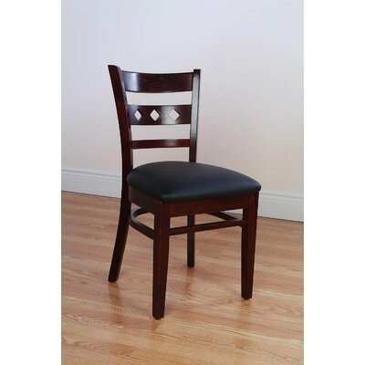 Duno Side Chair (Set of 2) Finish: Dark Mahogany, Upholstery: Black Faux Leather