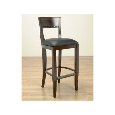 Tymon 24 Bar Stool Finish: Walnut, Upholstery: Black Faux Leather