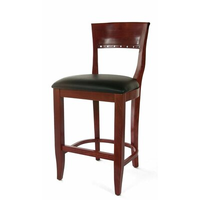 Biedermier 24 inch Bar Stool Finish: Walnut, Upholstery: Black Faux Leather