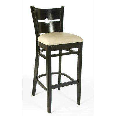 30 Bar Stool Color: Black, Upholstery: Cream