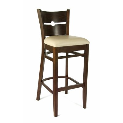 30 Bar Stool Frame Color: Walnut, Seat Color: Cream