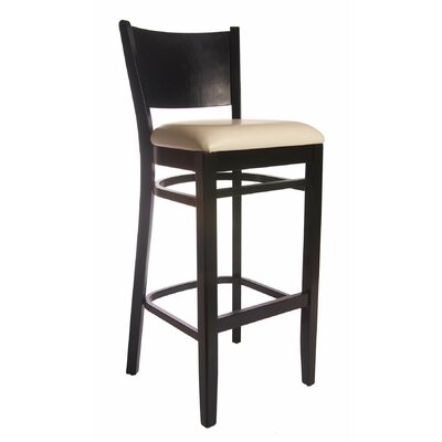 Winston 30 inch Bar Stool Finish: Black, Upholstery: Cream Leatherette