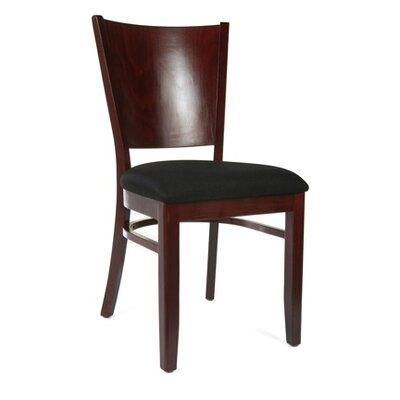 Winston Side Chair (Set of 2) Finish: Dark Mahogany, Upholstery: Faux Leather - Black