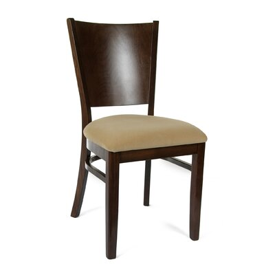 Winston Side Chair in Microfiber - Cream (Set of 2) Color: Walnut