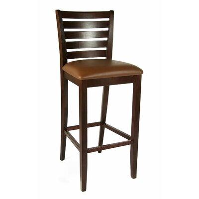 Sisley 30 Bar Stool Finish: Medium Oak, Upholstery: Brown