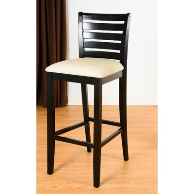 Sisley 30 Bar Stool Finish: Black, Upholstery: Cream