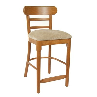Luci 24 Bar Stool Finish: Dark Mahogany, Upholstery: Faux Leather - Black