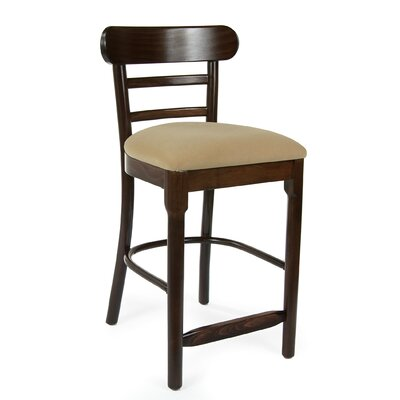 Luci 24 Bar Stool Finish: Walnut, Upholstery: Microfiber - Cream