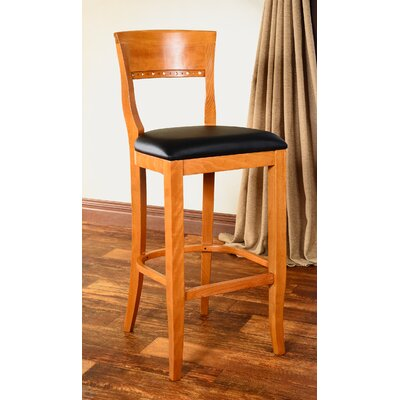 Tymon 30 Bar Stool Finish: Medium Oak, Upholstery: Faux Leather - Brown