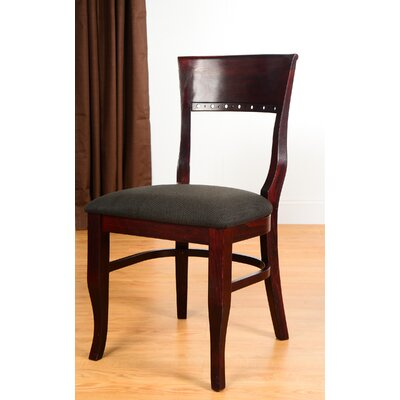 Biedermier Side Chair (Set of 2) Finish: Dark Mahogany, Upholstery: Black Faux Leather