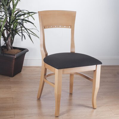 Biedermier Side Chair (Set of 2) Finish: Natural, Upholstery: Black Chenille