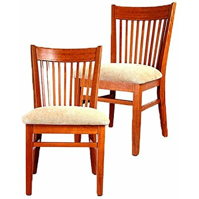 Metro Side Chair (Set of 2) Finish: Mahogany, Upholstery: Microfiber - Hyatt Tan