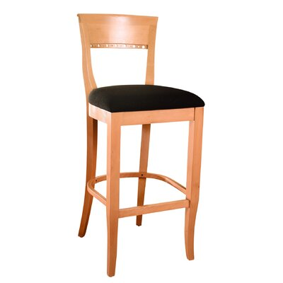 Biedermier 30 inch Bar Stool Finish: Natural, Upholstery: Microfiber - Black