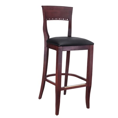 Tymon 30 Bar Stool Finish: Mahogany, Upholstery: Faux Leather - Black