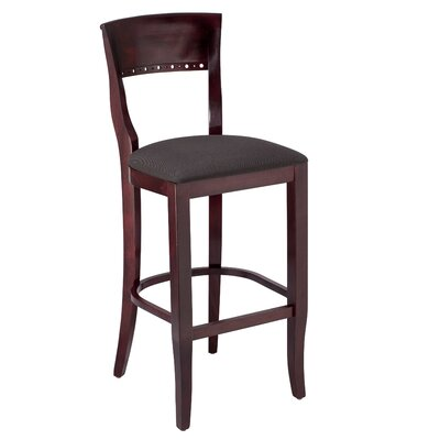 Tymon 30 Bar Stool Finish: Dark Mahogany, Upholstery: Faux Leather - Black