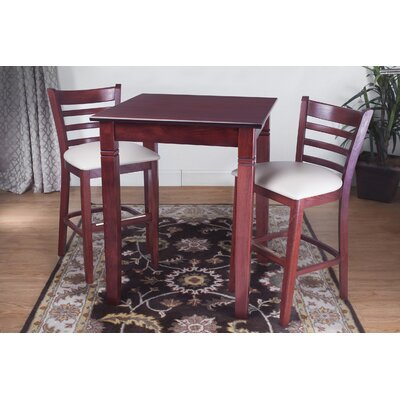 3 Piece Pub Table Set Color: Mahogany