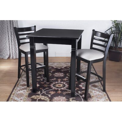 3 Piece Pub Table Set Color: Black