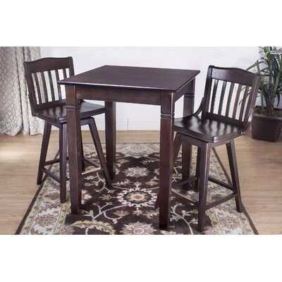 3 Piece Pub Table Set Color: Walnut