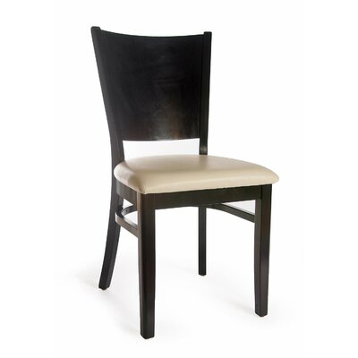 Winston Side Chair (Set of 2) Finish: Black, Upholstery: Faux Leather - Ivory