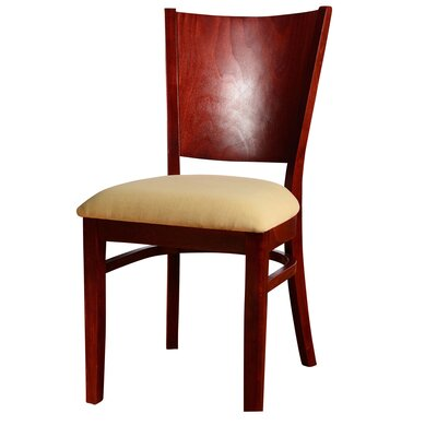Winston Side Chair in Microfiber - Cream (Set of 2) Color: Mahogany