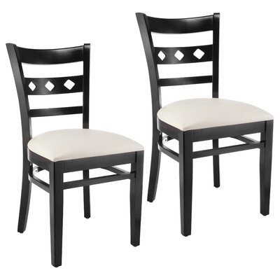 Duno Side Chair in Neutral Microfiber (Set of 2) Color: Black