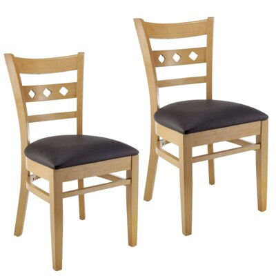 Duno Side Chair (Set of 2) Upholstery: Black Faux Leather, Finish: Natural