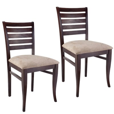 Sisley Side Chair (Set of 2) Upholstery: Cream, Finish: Walnut