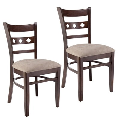 Duno Side Chair (Set of 2) Upholstery: Neutral Microfiber, Finish: Walnut