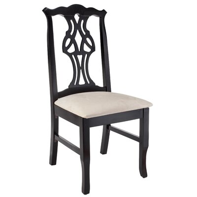 Chippendale Solid Wood Dining Chair Frame Color: Black
