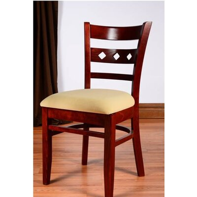 Duno Side Chair in Neutral Microfiber (Set of 2) Color: Mahogany