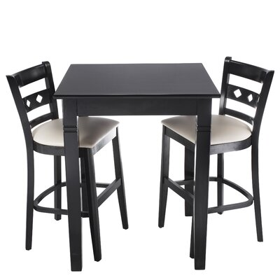 Ewell 3 Piece Counter Height Pub Table Set Color: Black