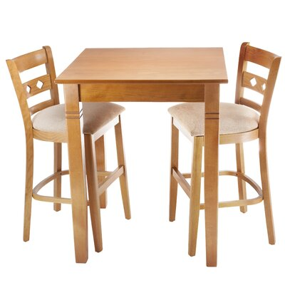 Duno 3 Piece Counter Height Pub Table Set Finish: Cherry