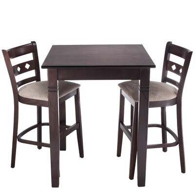 Duno 3 Piece Counter Height Pub Table Set Finish: Walnut