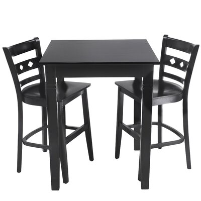 Duno 3 Piece Counter Height Pub Table Set Finish: Black