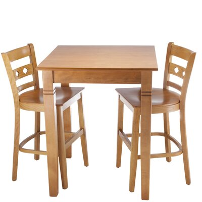 Ewell 3 Piece Counter Height Pub Table Set Color: Cherry
