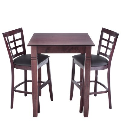 Lattice 3 Piece Counter Height Pub Table Set Finish: Mahogany
