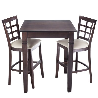 Lattice 3 Piece Counter Height Pub Table Set Finish: Walnut