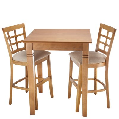 Harner 3 Piece Counter Height Pub Table Set Color: Cherry
