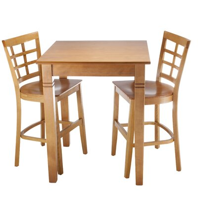 Harner 3 Piece Pub Table Set Color: Cherry